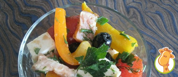 Греческий салат с горбушей