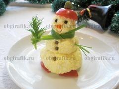6. Импровизированно декорируют и новогоднюю закуску Снеговик рецепт с фото наглядно демонстрирует в готовом виде.