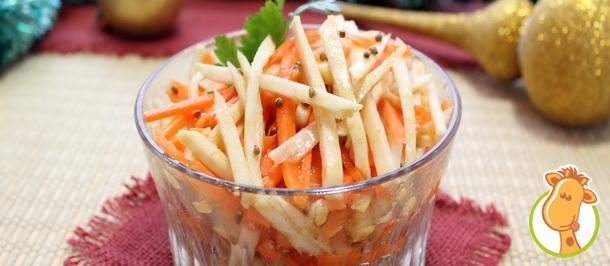 Острая салат-закуска в новогоднем меню: сельдерей с морковью по-корейски