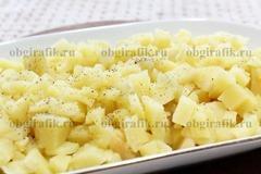 2. Нижним слоем выкладывают нарезанный кубиками картофель, солят, перчат