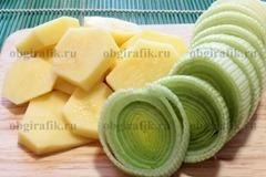 3. Картофель и лук-порей – кольцами толщиной 0,5 см.